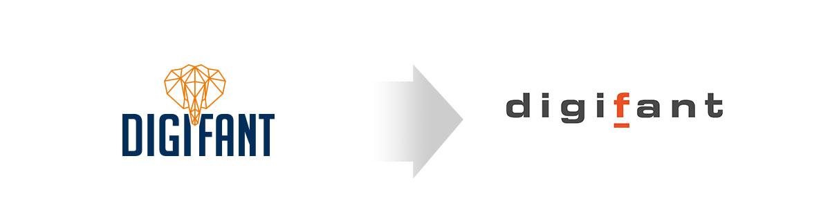 Verwandlung vom alten zum neuen Logo von digifant