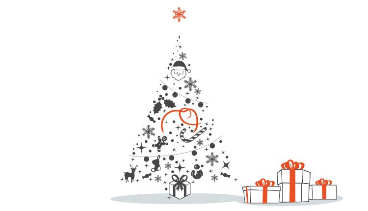 Weihnachtsbaum mit Geschenken, Weihnachten, Weihnachtsgrüße